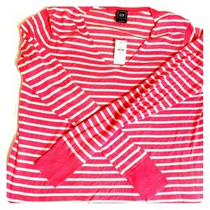 Gap Hot Pink and White Stripe V Neck sweater